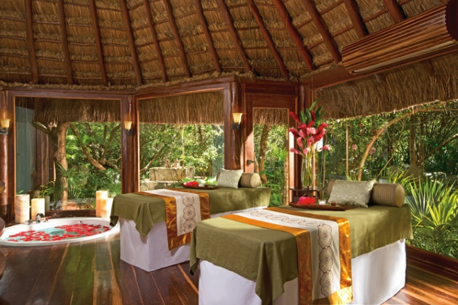 The tranquil rainforest treatment cabin at the spa.