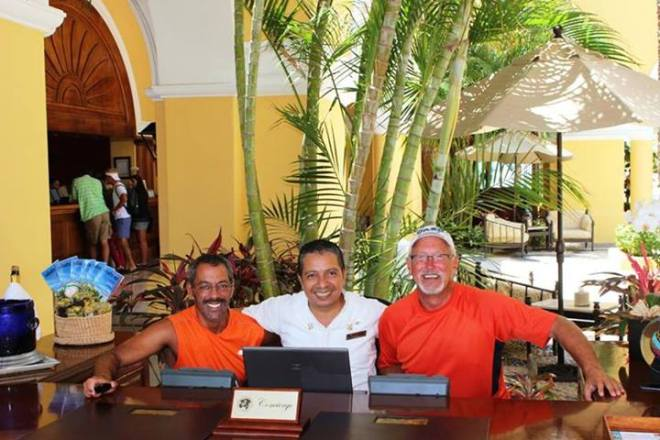 Mark enjoys some quality time with Mario, the chief concierge at Dreams Los Cabos Suits Golf Resort & Spa.