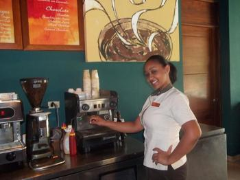 Natividad is one of the many talented baristas at our Coco Café!