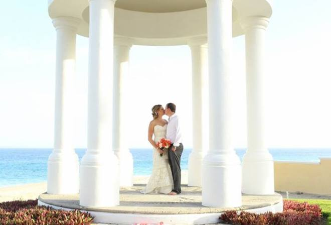 Melissa shared this photo of her wedding under our romantic gazebo Dreams Los Cabos Golf Suites, Resort & Spa.