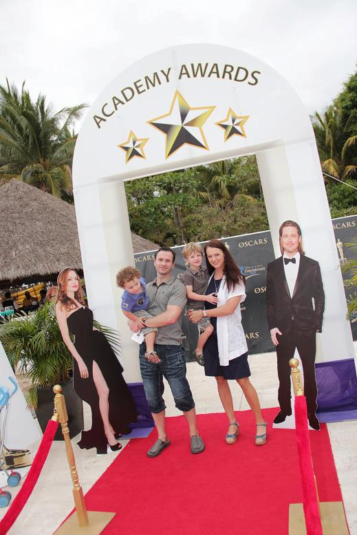 An adorable family on the red carpet at Dreams Villamagna Nuevo Vallarta!