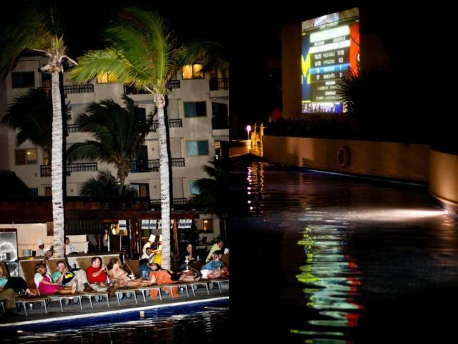 Guests watched the NCAA Final Four game on the big screen by the pool, at Dreams Riviera Cancun Resort & Spa!