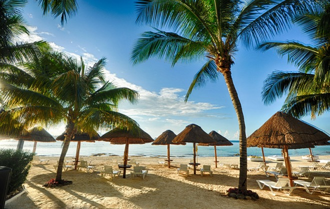 The beach is right outside the resort which is in the heart of the Cancun Hotel Zone!
