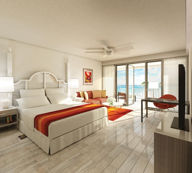 A Preferred Club Deluxe Ocean View room at Dreams Sugar Bay St. Thomas.