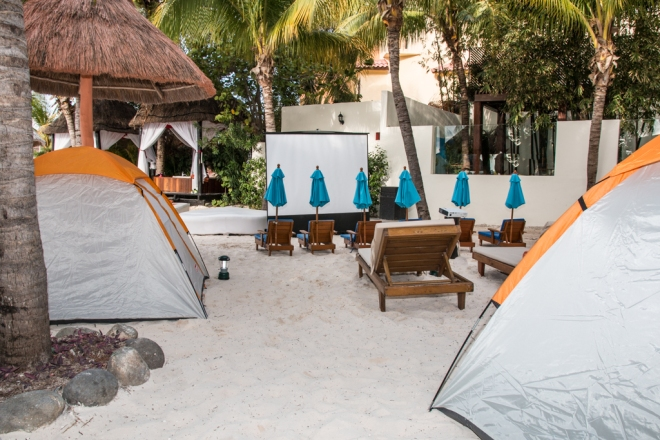The beach at Dreams Sands Cancun is all set up for the weekly Explorer's Club campout!